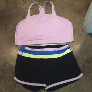 Lululemon matching tank with running shorts
